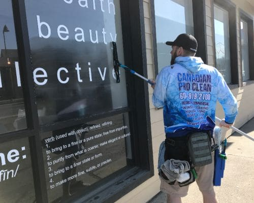 storefront window cleaning at learning center.