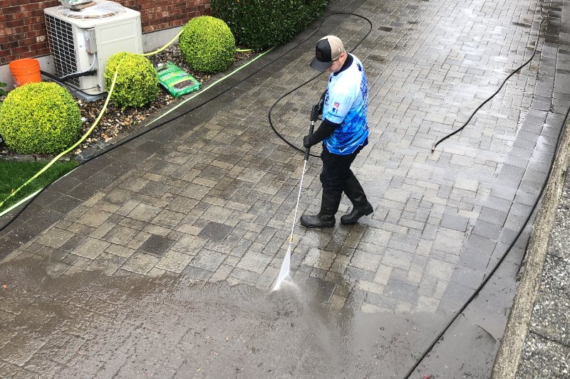 Canadian Pro Clean paver cleaning service in progress
